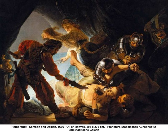 Samson having his eyes gouged out - by Rembrandt